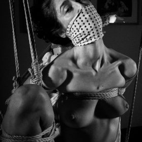 Beautiful woman tied up in traditional Japanese Bondage